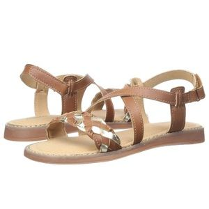 Hanna Andersson Helga Brown & Gold Woven Sandals